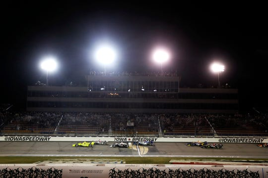 """Iowa Speedweek"" began with Saturday's late-night IndyCar race that finished past midnight at Iowa Speedway."
