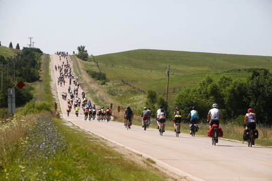 RAGBRAI riders head south out of Lacona. RAGBRAI riders pedaled out of Indianola Wednesday on the way to Lacona and on to the overnight stop in Centerville.
