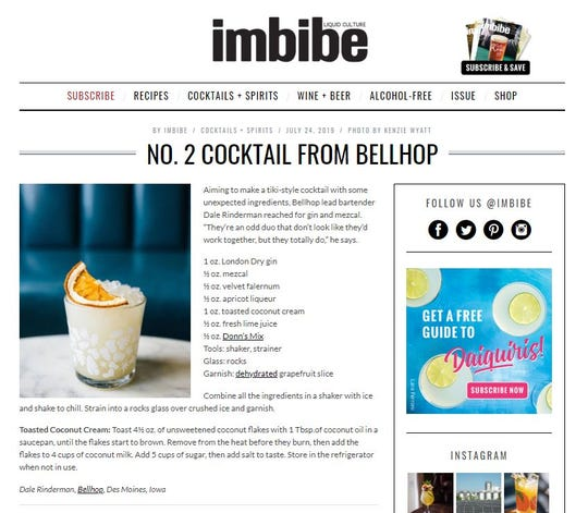 The No. 2 Cocktail from Bellhop, made with gin and mezcal was featured in Imbibe, a national beverage magazine.