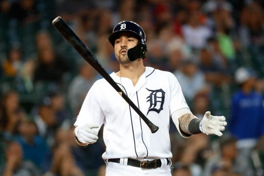 Tigers right fielder Nicholas Castellanos tosses his bat in the fourth inning on Tuesday, July 23, 2019, at Comerica Park.