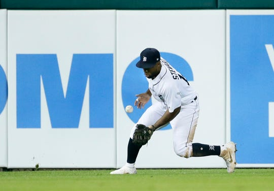 Tigers left fielder Christin Stewart boots a hit to right field by Phillies catcher J.T. Realmuto during the fifth inning on Tuesday, July 23, 2019, at Comerica Park.