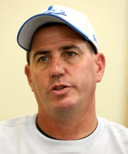Lions tight ends coach Chris White talks with the media during the first day of training camp at the Lions practice facility in Allen Park on Wednesday, July 24, 2019.