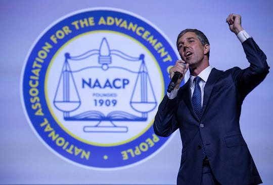 Former Texas congressman and Democratic presidential candiate Beto O'Rourke takes the stage during the Presidential Candidates forum hosted by the National Association for the Advancement of Colored People (NAACP)  Wednesday, July 24, 2019 at Cobo Center in Detroit.
