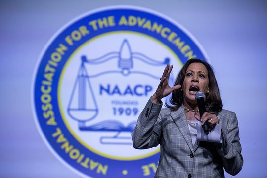 U.S. Senator Kamala Harris, a California Democrat and candidate for president, makes closing remarks after answering questions from journalist April Ryan during the Presidential Candidates forum hosted by the National Association for the Advancement of Colored People (NAACP)  Wednesday, July 24, 2019 at Cobo Center in Detroit.