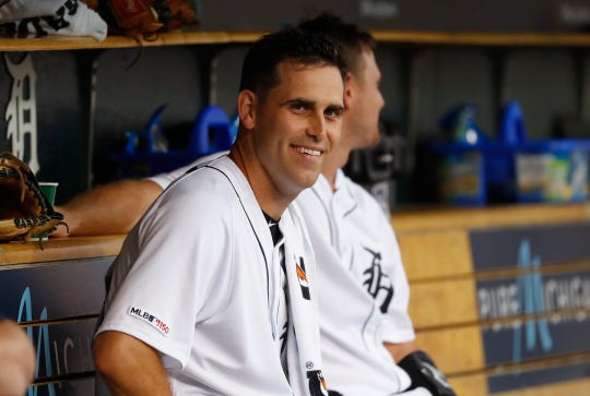 Tigers pitcher Matthew Boyd smiles in the dugout against the Phillies in the first inning on Tuesday, July 23, 2019, at Comerica Park.