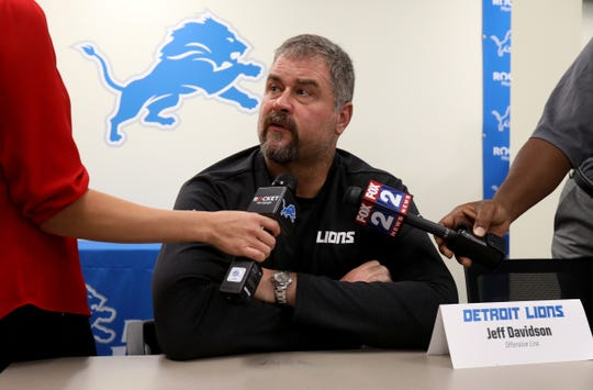 Lions offensive line coach Jeff Davidson talks with the media during the first day of training camp at the Lions practice facility in Allen Park on Wednesday, July 24, 2019.