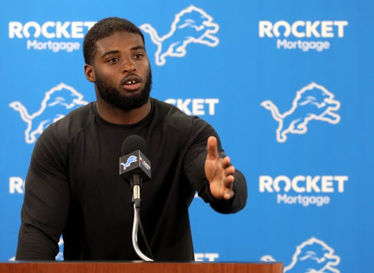 Lions linebacker Jarrad Davis talks with the media during the first day of training camp at the Lions practice facility in Allen Park on Wednesday, July 24, 2019.