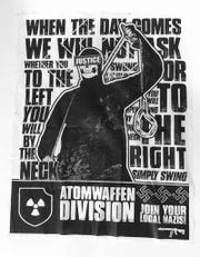 One of the anti-Semitic posters put up in Birmingham and attributed to the neo-Nazi hate group, Atomwaffen Division.