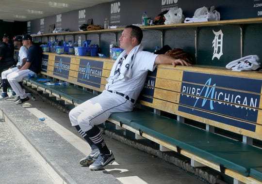 Jordan Zimmermann sits in the dugout after being pulled from the game during the fifth inning Wednesday.