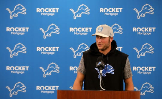 Lions quarterback Matthew Stafford talks with the media during the first day of training camp at the Lions practice facility in Allen Park on Wednesday, July 24, 2019.