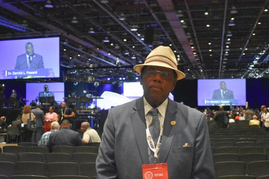Kareem Shabazz, the president of Atlantic City, New Jersey's NAACP branch attends the 110th NAACP convention at Cobo Center in Detroit on Wednesday, July 24, 2019.
