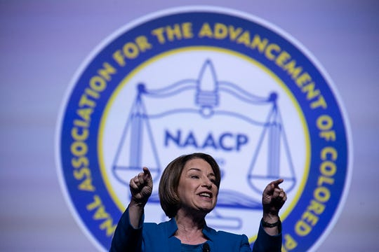 Senator Amy Klobuchar D-Minnesota, says thank you after speaking during the Presidential Candidates forum hosted by the National Association for the Advancement of Colored People (NAACP)  Wednesday, July 24, 2019 at Cobo Center in Detroit.