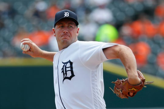 Tigers pitcher Jordan Zimmermann throws against the Phillies in the first inning on Wednesday, July 24, 2019, at Comerica Park.