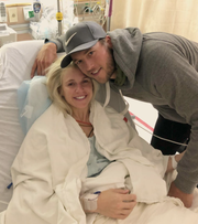Kelly and Matt Stafford pose for a photo before Kelly's surgery to remove a brain tumor. She posted the photo on her Instagram account.