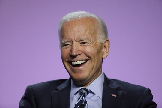 Former U.S. Vice President Joe Biden jokes with the crowd during the Presidential Candidates forum hosted by the National Association for the Advancement of Colored People (NAACP)  Wednesday, July 24, 2019 at Cobo Center in Detroit.
