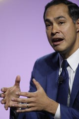Former U.S. Secretary of Housing and Urban Development Julian Castro speaks during the Presidential Candidates forum hosted by the National Association for the Advancement of Colored People (NAACP)  Wednesday, July 24, 2019 at Cobo Center in Detroit.