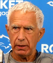 Lions defensive coordinator Paul Pasqualoni talks with the media during the first day of training camp at the Lions practice facility in Allen Park on Wednesday, July 24, 2019.