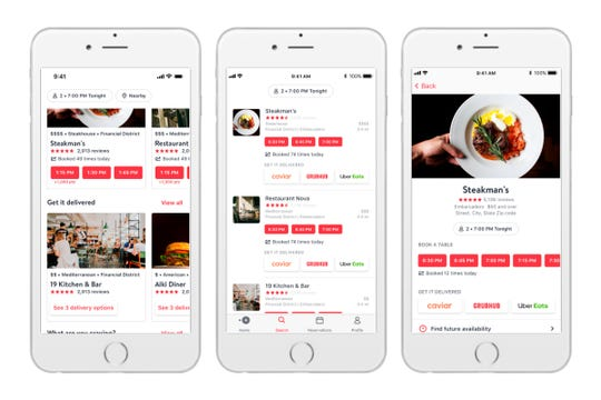 The new delivery option for diners on OpenTable's app.