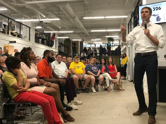 Democratic presidential candidate Beto O'Rourke addresses a crowd during a town hall at the Ferris Wheel building in downtown Flint on Wednesday, July 24, 2019.
