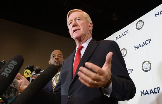Republican presidential candidate Bill Weld answers questions from media during a visit to the NAACP convention at Cobo Center in Detroit, Michigan on July 24, 2019.