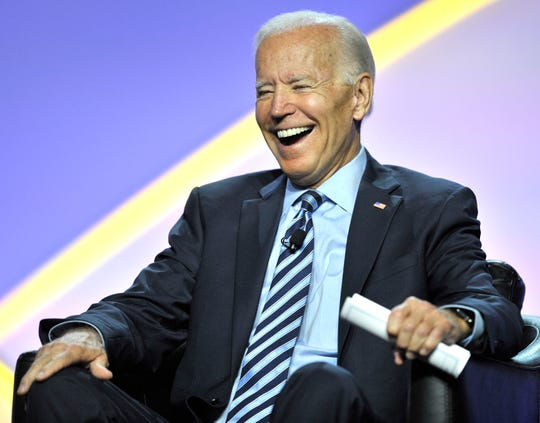 Presidential candidate and former U.S. Vice Present Joe Biden shares a laugh with the crowd.