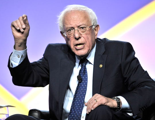 Presidential candidate Sen. Bernie Sanders makes a point Wednesday at Cobo Center.