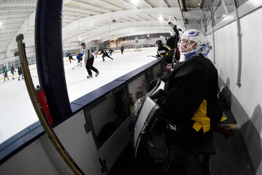 Hunter Tetrault of Massachusetts sits on the bench during Interstate Hockey League tryouts on July 13 at Fraser Hockeyland.