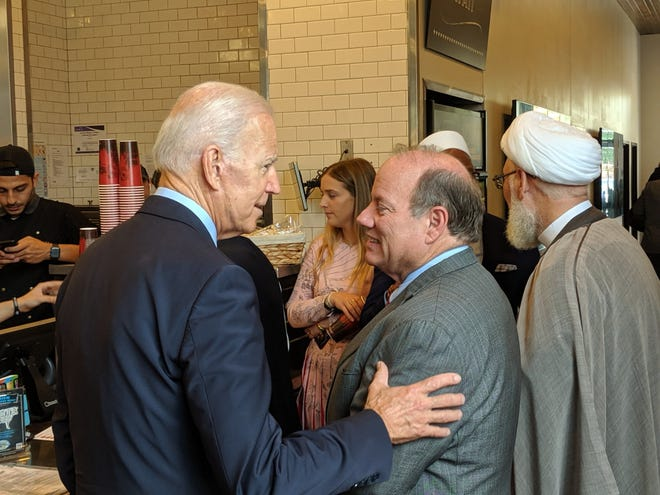 Former Vice President Joe Biden, left, joined Detroit Mayor Mike Duggan for lunch on Wednesday, July 24, 2019, at Brome in Dearborn.