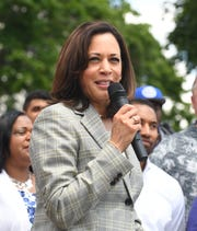 Democratic presidential candidate Sen. Kamala Harris speaks at a SEIU Local 1 rally in Hart Plaza in Detroit Wednesday.