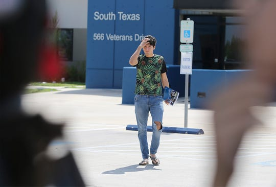 U.S. citizen Francisco Galicia, 18, walks out on his own from the South Texas Detention Facility in Pearsall, Texas, Tuesday, July 23, 2019.