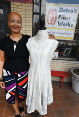 Mandisa Smith of Detroit Fiber Works shows a Nuno felted dress.