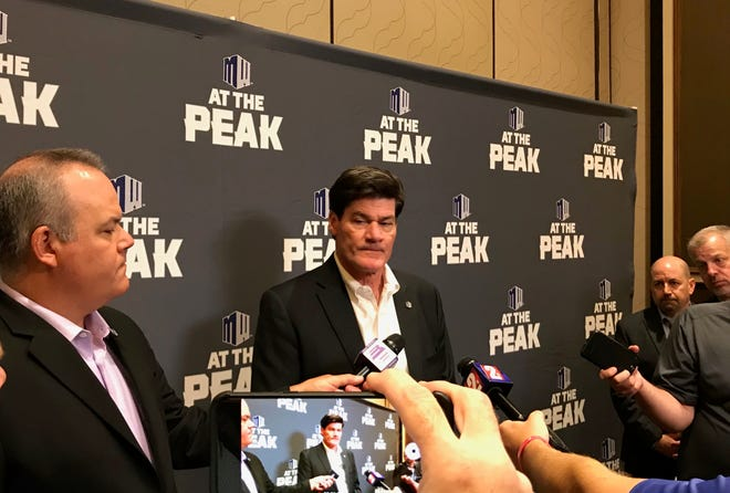 Mountain West commissioner Craig Thompson talks to reporters at the conference's football media days event at Green Valley Ranch in Henderson last month.