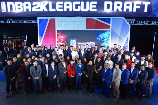 The NBA 2K League 2019 Draft Class posing in Brooklyn's Barclays Center this past March.
