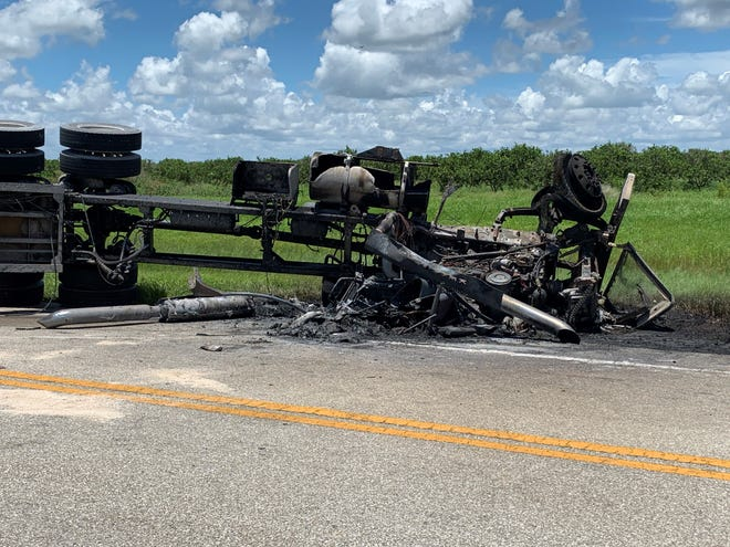 A rollover crash involving a truck about 12:15 p.m. Wednesday, July 24, 2019, that burned on Corkscrew Road east of Alico Road has closed all lanes of the road.