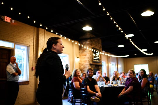 Executive chef Jenifer Rogers from Passarelle Bistro speaks during a Special Evening Edition of Lunch with Lillia at Larkin's Sawmill Tuesday, July 23, 2019. The Greenville News is launching a new culinary storytelling series beginning Oct. 29.