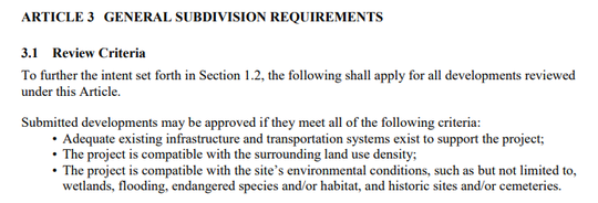 Article 3.1 of the Greenville County Land Development Regulations restricts development when it isn't compatible with surrounding land-use density or environmental conditions. Adequate roads must also be in place.