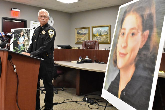 Yellowstone County Sheriff Mike Linder announces Tuesday, July 23, 2019, that 39-year-old Zachary David O'Neill has pleaded guilty to the brutal 1998 killing of 18-year-old Miranda Fenner, during a news conference in Billings, Mont. The case garnered national attention at the time of the killing but frustrated law enforcement when it remained unsolved.