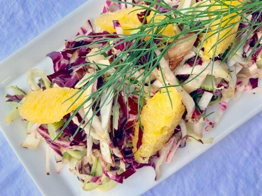 Grilled shaved radichhio and fennel salad with orange is a treat for the eye and the stomach.