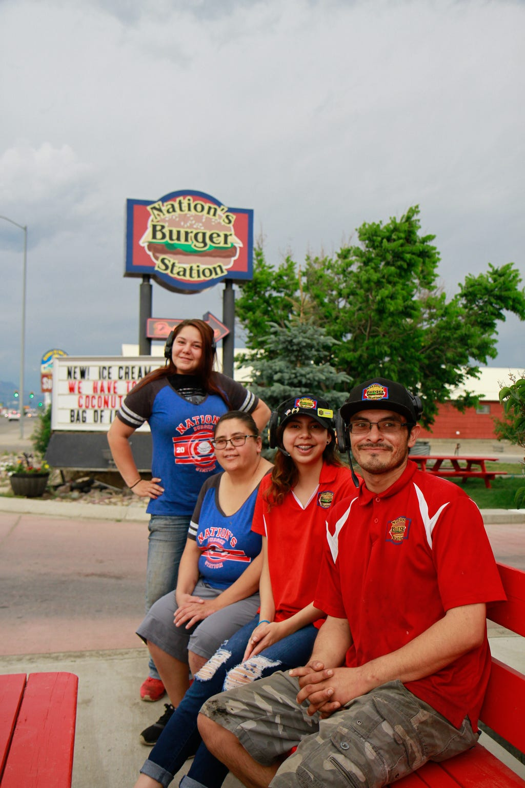 Carrie, Irs, Shanna Jo and James took a quick photo-op break on Tuesday at Nation's Burger Station in Browning