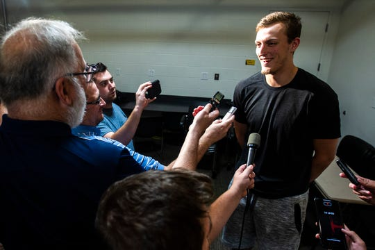 Iowa forward Jack Nunge speaks with reporters during a men's basketball player media availability, Wednesday, July 24, 2019, at Carver-Hawkeye Arena in Iowa City, Iowa.