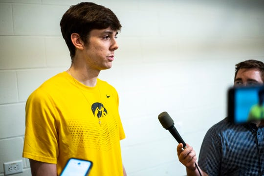 Iowa forward Patrick McCaffery speaks with reporters during a men's basketball player media availability, Wednesday, July 24, 2019, at Carver-Hawkeye Arena in Iowa City, Iowa.