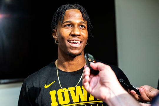 Iowa guard Bakari Evelyn speaks with reporters during a men's basketball player media availability, Wednesday, July 24, 2019, at Carver-Hawkeye Arena in Iowa City, Iowa.