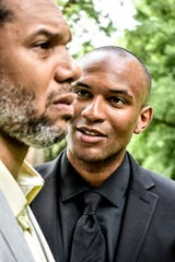 Actor Lorenzo Roberts (right) will portray Hamlet, and Abdul-Khaliq Murtadha will play Claudius in Indy Shakes' production of Hamlet at Riverside Park.