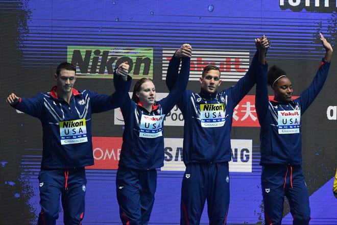 Silver medalists Ryan Murphy, Lilly King, Caeleb Dressel and Simone Manuel of the United States pose during the medal ceremony for the Mixed 4x100m Medley Relay Final on day four of the Gwangju 2019 FINA World Championships at Nambu International Aquatics Centre on July 24, 2019 in Gwangju, South Korea.