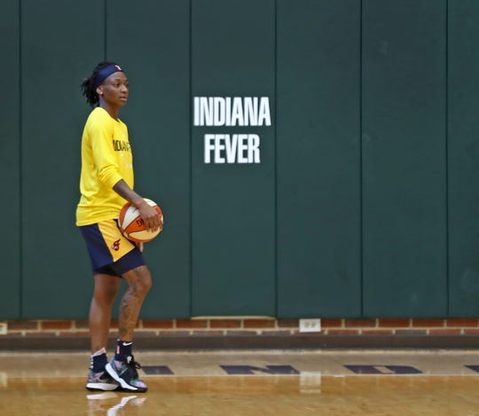 Indiana Fever Guard Erica Wheeler practices, at Bankers Life Fieldhouse, Wednesday, July 17, 2019.  She grew up in a rough area in Miami, but her mother wanted her to get out.  So basketball helped keep Wheeler out of trouble.