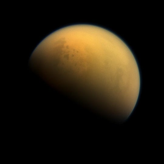 A photo of Titan, Saturn's moon, which scientists think could resemble pre-life Earth. NASA has selected a mission to send a drone to the moon, in a mission called Dragonfly, to explore it. The mission is being led by a Purdue graduate.