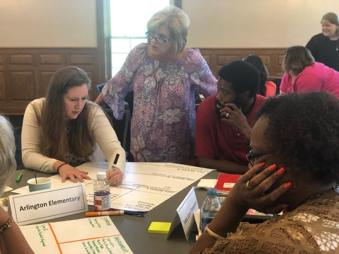 JMCSS administrators work together on an activity during an administrative summit Tuesday.