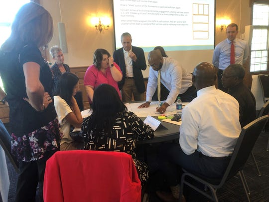 Two groups compare activity boards during a JMCSS administrative summit at the University of Memphis-Lambuth Campus ballroom.