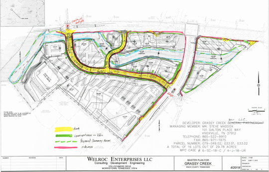 Concept plan for a proposed commercial development located on the south side of Oak Ridge Hwy., and the east and west side of Schaad Rd. The concept plan is for the subdivision of this 29.78 acre tract into 15 commercial lots and includes two new public streets.