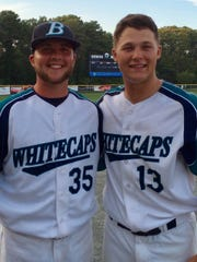 University of Tennessee baseball players Hunter Martin, left, and Nick Senzel played for the Brewster Whitecaps of the Cape Cod League in 2015. Senzel was the league MVP.